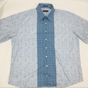 Rochas Mens Casual Button Front 2 Tone Floral XL